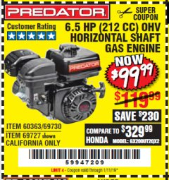 Harbor Freight Coupon PREDATOR 6.5 HP (212 CC) OHV HORIZONTAL SHAFT GAS ENGINES Lot No. 60363/68120/69730/68121/69727 Expired: 1/11/19 - $99.99