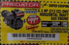 Harbor Freight Coupon PREDATOR 6.5 HP (212 CC) OHV HORIZONTAL SHAFT GAS ENGINES Lot No. 60363/68120/69730/68121/69727 Expired: 1/4/19 - $99.99