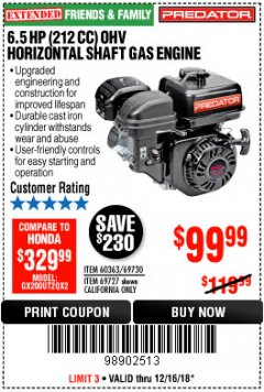 Harbor Freight Coupon PREDATOR 6.5 HP (212 CC) OHV HORIZONTAL SHAFT GAS ENGINES Lot No. 60363/68120/69730/68121/69727 Expired: 12/16/18 - $99.99