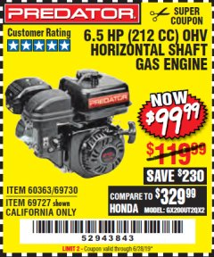 Harbor Freight Coupon PREDATOR 6.5 HP (212 CC) OHV HORIZONTAL SHAFT GAS ENGINES Lot No. 60363/68120/69730/68121/69727 Expired: 6/28/19 - $99.99