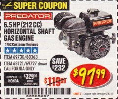 Harbor Freight Coupon PREDATOR 6.5 HP (212 CC) OHV HORIZONTAL SHAFT GAS ENGINES Lot No. 60363/68120/69730/68121/69727 Expired: 6/30/19 - $97.99