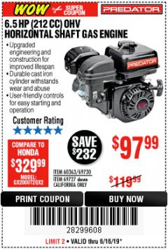 Harbor Freight Coupon PREDATOR 6.5 HP (212 CC) OHV HORIZONTAL SHAFT GAS ENGINES Lot No. 60363/68120/69730/68121/69727 Expired: 6/16/19 - $97.99