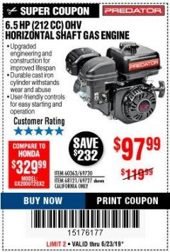 Harbor Freight Coupon PREDATOR 6.5 HP (212 CC) OHV HORIZONTAL SHAFT GAS ENGINES Lot No. 60363/68120/69730/68121/69727 Expired: 6/23/19 - $97.99