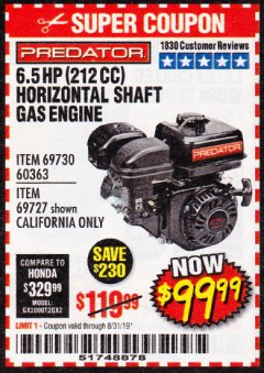 Harbor Freight Coupon PREDATOR 6.5 HP (212 CC) OHV HORIZONTAL SHAFT GAS ENGINES Lot No. 60363/68120/69730/68121/69727 Expired: 8/31/19 - $99.99