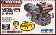 Harbor Freight Coupon PREDATOR 6.5 HP (212 CC) OHV HORIZONTAL SHAFT GAS ENGINES Lot No. 60363/68120/69730/68121/69727 Expired: 10/31/19 - $99.99