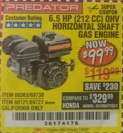 Harbor Freight Coupon PREDATOR 6.5 HP (212 CC) OHV HORIZONTAL SHAFT GAS ENGINES Lot No. 60363/68120/69730/68121/69727 Expired: 1/9/20 - $99.99