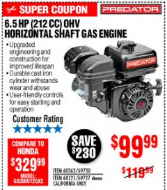 Harbor Freight Coupon PREDATOR 6.5 HP (212 CC) OHV HORIZONTAL SHAFT GAS ENGINES Lot No. 60363/68120/69730/68121/69727 Expired: 10/4/19 - $99.99