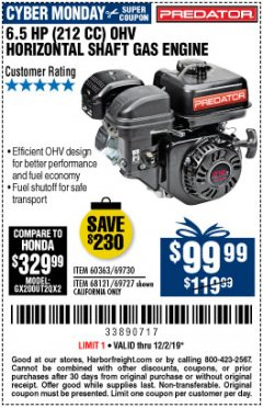 Harbor Freight Coupon PREDATOR 6.5 HP (212 CC) OHV HORIZONTAL SHAFT GAS ENGINES Lot No. 60363/68120/69730/68121/69727 Expired: 12/2/19 - $99.99