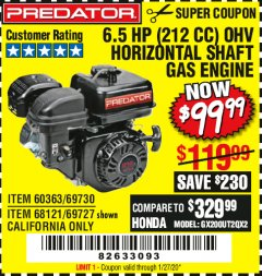 Harbor Freight Coupon PREDATOR 6.5 HP (212 CC) OHV HORIZONTAL SHAFT GAS ENGINES Lot No. 60363/68120/69730/68121/69727 Expired: 1/27/20 - $99.99