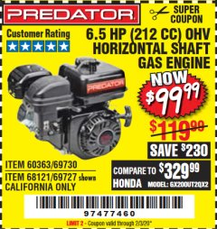 Harbor Freight Coupon PREDATOR 6.5 HP (212 CC) OHV HORIZONTAL SHAFT GAS ENGINES Lot No. 60363/68120/69730/68121/69727 Expired: 2/3/20 - $99.99