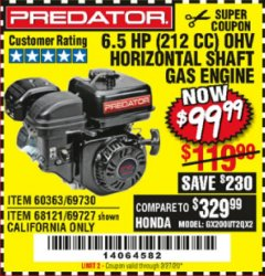 Harbor Freight Coupon PREDATOR 6.5 HP (212 CC) OHV HORIZONTAL SHAFT GAS ENGINES Lot No. 60363/68120/69730/68121/69727 Expired: 2/27/20 - $99.99