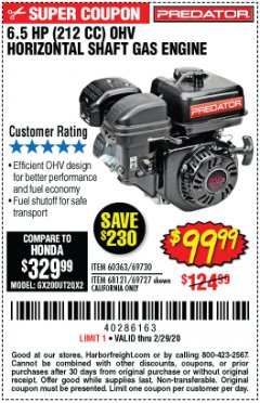 Harbor Freight Coupon PREDATOR 6.5 HP (212 CC) OHV HORIZONTAL SHAFT GAS ENGINES Lot No. 60363/68120/69730/68121/69727 Expired: 2/29/20 - $99.99