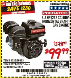 Harbor Freight Coupon PREDATOR 6.5 HP (212 CC) OHV HORIZONTAL SHAFT GAS ENGINES Lot No. 60363/68120/69730/68121/69727 Expired: 2/8/20 - $99.99