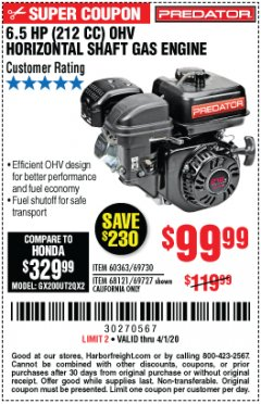 Harbor Freight Coupon PREDATOR 6.5 HP (212 CC) OHV HORIZONTAL SHAFT GAS ENGINES Lot No. 60363/68120/69730/68121/69727 Expired: 4/1/20 - $99.99