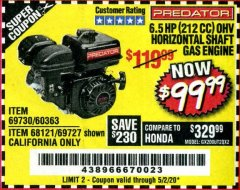 Harbor Freight Coupon PREDATOR 6.5 HP (212 CC) OHV HORIZONTAL SHAFT GAS ENGINES Lot No. 60363/68120/69730/68121/69727 Expired: 6/30/20 - $99.99