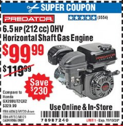 Harbor Freight Coupon PREDATOR 6.5 HP (212 CC) OHV HORIZONTAL SHAFT GAS ENGINES Lot No. 60363/68120/69730/68121/69727 Expired: 11/13/20 - $99.99