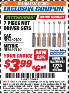 Harbor Freight ITC Coupon 7 PIECE NUT DRIVER SETS Lot No. 69109/69110 Expired: 5/31/18 - $3.99