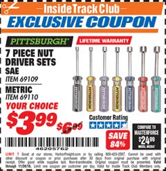 Harbor Freight ITC Coupon 7 PIECE NUT DRIVER SETS Lot No. 69109/69110 Expired: 11/30/18 - $3.99