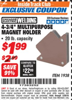 "Harbor Freight ITC Coupon 4-3/4"" MULTIPURPOSE MAGNET HOLDER Lot No. 1938 Valid Thru: 2/28/19 - $1.99"