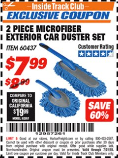 Harbor Freight ITC Coupon 2 PIECE MICROFIBER EXTERIOR CAR DUSTER SET Lot No. 60437 Expired: 7/31/18 - $7.99