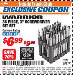 "Harbor Freight ITC Coupon 36 PIECE 3"" SCREWDRIVER BIT SET Lot No. 68817 Expired: 10/31/18 - $6.99"