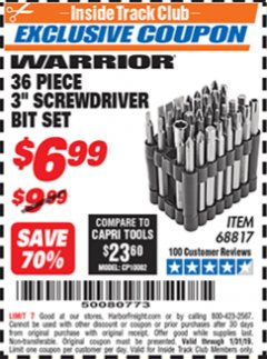 "Harbor Freight ITC Coupon 36 PIECE 3"" SCREWDRIVER BIT SET Lot No. 68817 Expired: 1/31/19 - $6.99"
