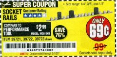 Harbor Freight Coupon SOCKET RAILS Lot No. 39721/39722/39723 EXPIRES: 6/30/20 - $0.69