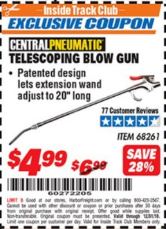 Harbor Freight ITC Coupon TELESCOPING BLOW GUN Lot No. 68261 Expired: 12/31/18 - $4.99