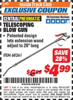 Harbor Freight ITC Coupon TELESCOPING BLOW GUN Lot No. 68261 Dates Valid: 12/31/69 - 5/31/19 - $4.99