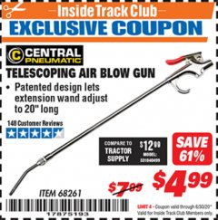Harbor Freight ITC Coupon TELESCOPING BLOW GUN Lot No. 68261 Dates Valid: 12/31/69 - 6/30/20 - $4.99