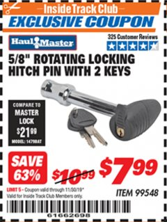 "Harbor Freight ITC Coupon 5/8"" ROTATING LOCKING HITCH PIN WITH 2 KEYS Lot No. 99548 Expired: 11/30/19 - $7.99"