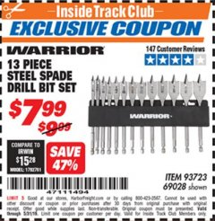 Harbor Freight ITC Coupon 13 PIECE STEEL SPADE DRILL BIT SET Lot No. 69028/93723 Dates Valid: 5/3/19 - 5/31/19 - $7.99