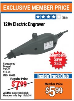 Harbor Freight ITC Coupon 120 VOLT ELECTRIC ENGRAVER Lot No. 46099/63174 Expired: 12/3/20 - $5.99