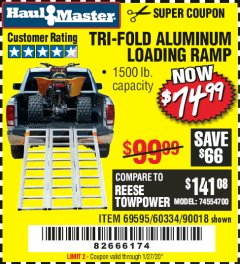 Harbor Freight Coupon SUPER-WIDE TRI-FOLD ALUMINUM LOADING RAMP Lot No. 90018/69595/60334 Expired: 1/27/20 - $74.99