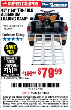 Harbor Freight Coupon SUPER-WIDE TRI-FOLD ALUMINUM LOADING RAMP Lot No. 90018/69595/60334 Expired: 6/30/20 - $79.99