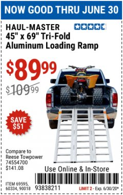 Harbor Freight Coupon SUPER-WIDE TRI-FOLD ALUMINUM LOADING RAMP Lot No. 90018/69595/60334 Expired: 6/30/20 - $89.99