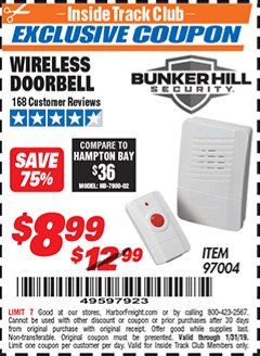 Harbor Freight ITC Coupon WIRELESS DOORBELL Lot No. 97004 Expired: 1/31/19 - $8.98