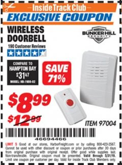 Harbor Freight ITC Coupon WIRELESS DOORBELL Lot No. 97004 Dates Valid: 12/31/69 - 5/31/19 - $8.99
