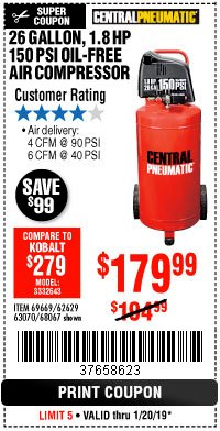 Harbor Freight Coupon 1.8 HP, 26 GALLON, 150 PSI OILLESS AIR COMPRESSOR Lot No. 69669/68067/69090/62629 Expired: 1/20/19 - $179.99