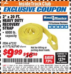 "Harbor Freight ITC Coupon 2"" X 20 FT. HEAVY DUTY RECOVERY STRAP Lot No. 67232/61175/62760 Expired: 12/31/18 - $9.99"