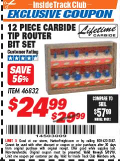 Harbor Freight ITC Coupon 12 PIECE CARBIDE TIP ROUTER BITS Lot No. 46832 Expired: 5/31/18 - $24.99