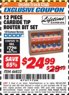 Harbor Freight ITC Coupon 12 PIECE CARBIDE TIP ROUTER BITS Lot No. 46832 Dates Valid: 5/1/19 - 5/31/19 - $24.99