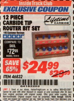 Harbor Freight ITC Coupon 12 PIECE CARBIDE TIP ROUTER BITS Lot No. 46832 Expired: 7/31/19 - $24.99