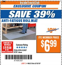 Harbor Freight ITC Coupon ANTI-FATIGUE ROLL MAT Lot No. 61241/62205/62407 Expired: 6/19/18 - $6.99