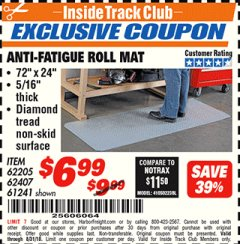 Harbor Freight ITC Coupon ANTI-FATIGUE ROLL MAT Lot No. 61241/62205/62407 Expired: 8/31/18 - $6.99