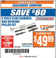 Harbor Freight ITC Coupon 5 PIECE SLIDE HAMMER AND BEARING PULLER SET Lot No. 62601/95987 Expired: 7/31/18 - $49.99