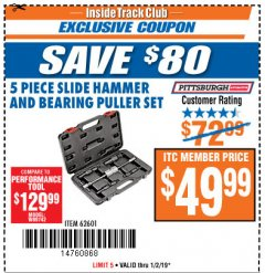 Harbor Freight ITC Coupon 5 PIECE SLIDE HAMMER AND BEARING PULLER SET Lot No. 62601/95987 Expired: 1/2/19 - $49.99