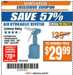 "Harbor Freight ITC Coupon 3/16"" AIR HYDRAULIC RIVETER Lot No. 93458 Expired: 5/22/18 - $29.99"