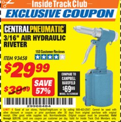 "Harbor Freight ITC Coupon 3/16"" AIR HYDRAULIC RIVETER Lot No. 93458 Expired: 3/31/19 - $29.99"