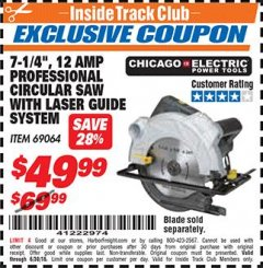 "Harbor Freight ITC Coupon 7-1/4"" HEAVY DUTY CIRCULAR SAW WITH LASER GUIDE SYSTEM Lot No. 69064 Expired: 6/30/18 - $49.99"